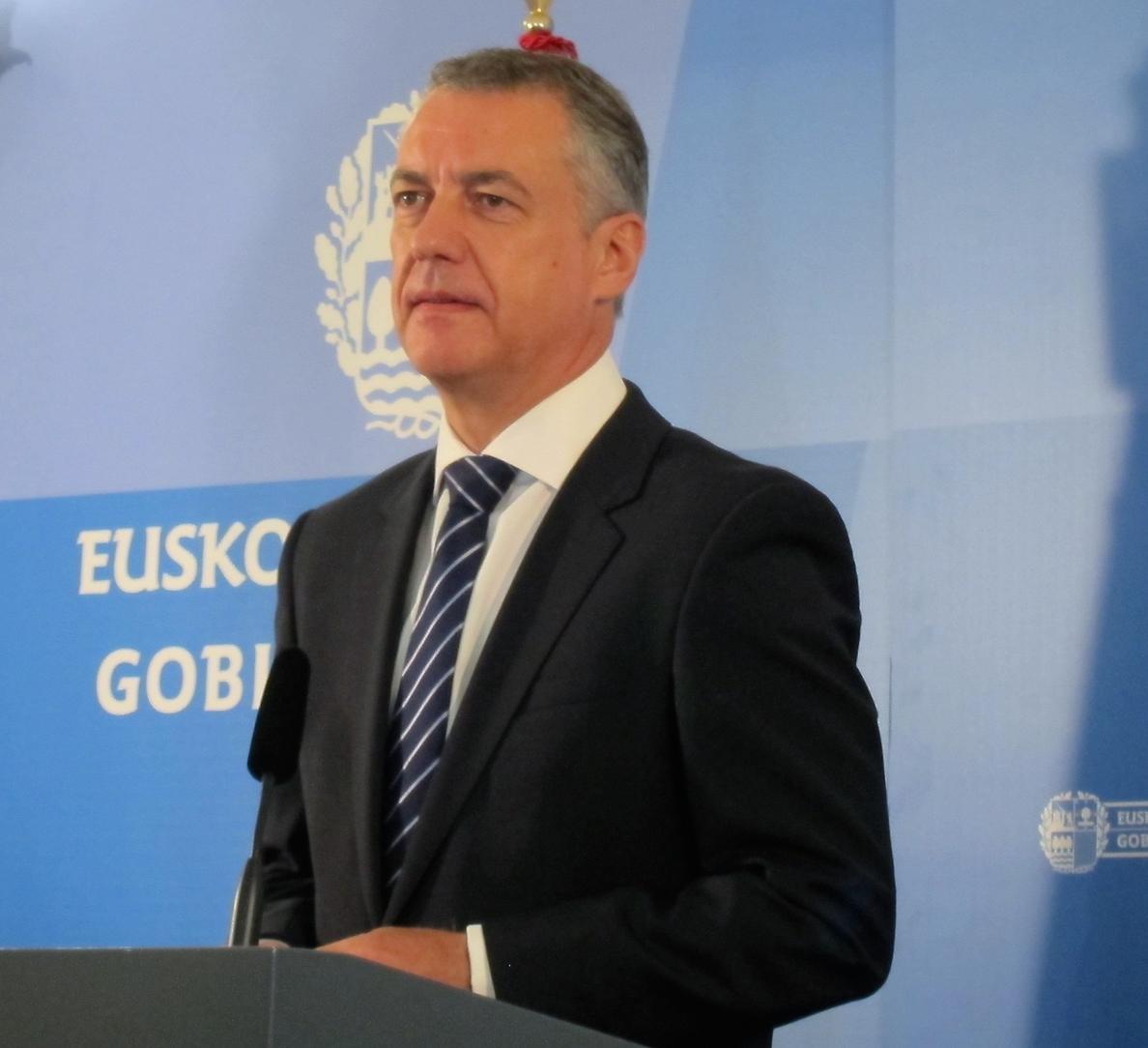 Urkullu afirma que «es de Justicia que ETA proceda a su desarme cuanto antes»