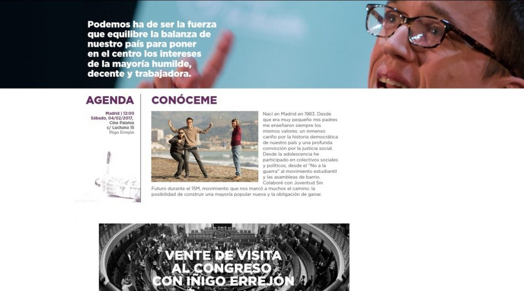 Errejón lanza su propia web con un sorteo para «dar una vuelta» por el Congreso de los Diputados con él como guía