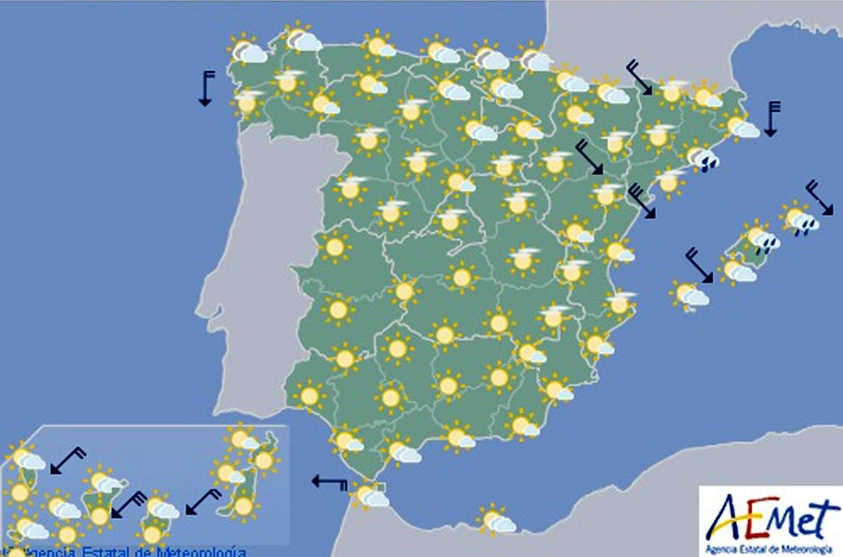 Las temperaturas suben hoy en el centro y el norte peninsular