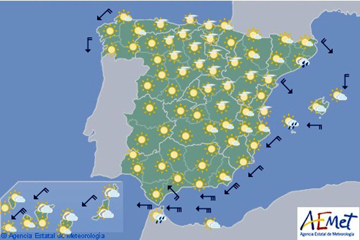 Hoy, ascenso paulatino de las temperaturas, salvo en Canarias