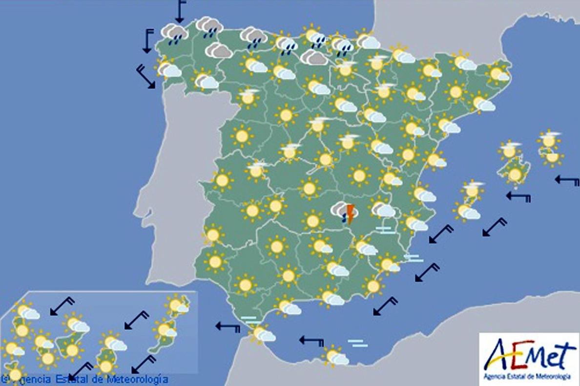 Temperaturas altas en zonas de la mitad interior sur peninsular y Mallorca