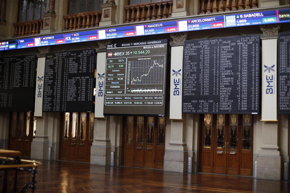 El IBEX 35 avanza un 0,83 % a mediodía y se acerca a 10.600 puntos