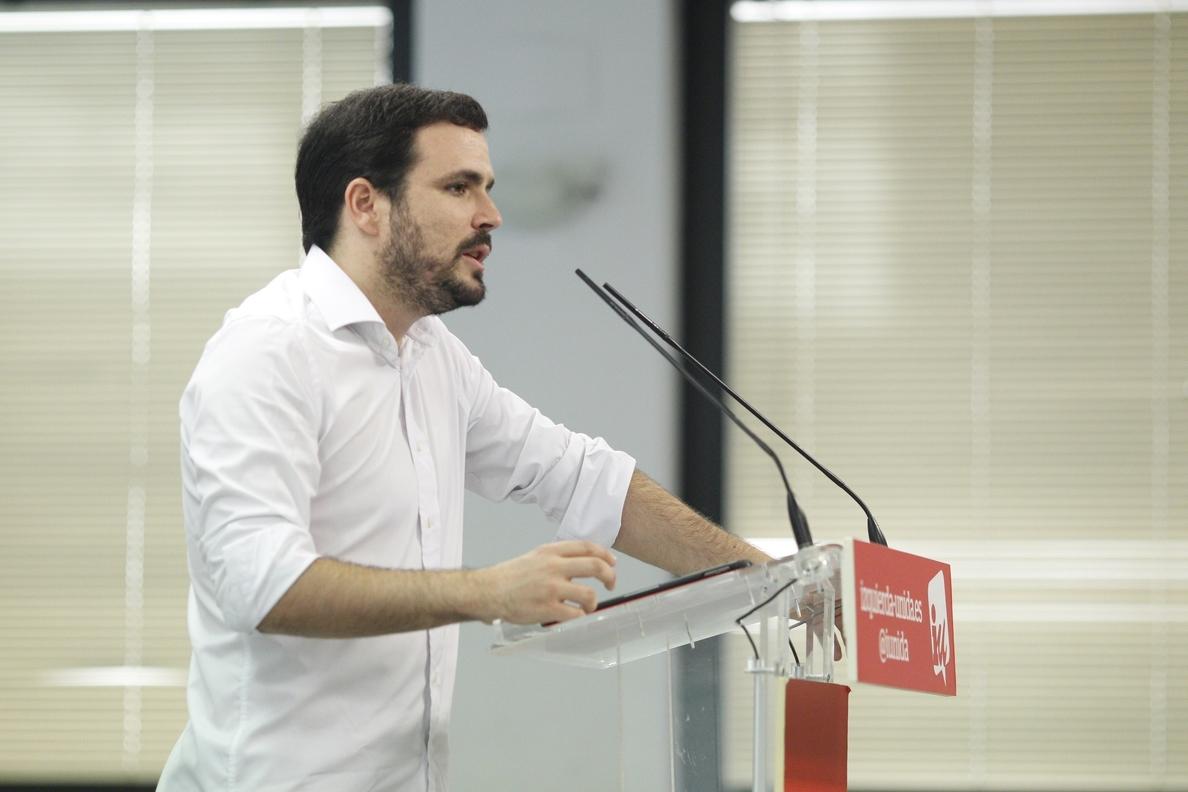 Garzón (IU) acusa a la «red» de Aznar de implicación en casos de corrupción y al Gobierno, de injerencia en el caso Lezo