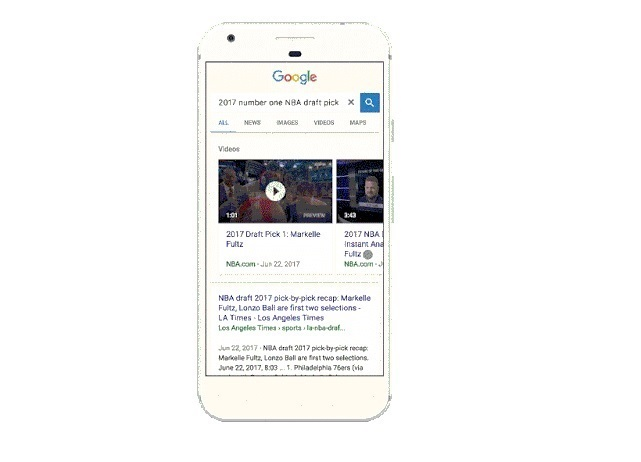 Google introduce previsualizaciones automáticas para los vídeos de las búsquedas desde el móvil