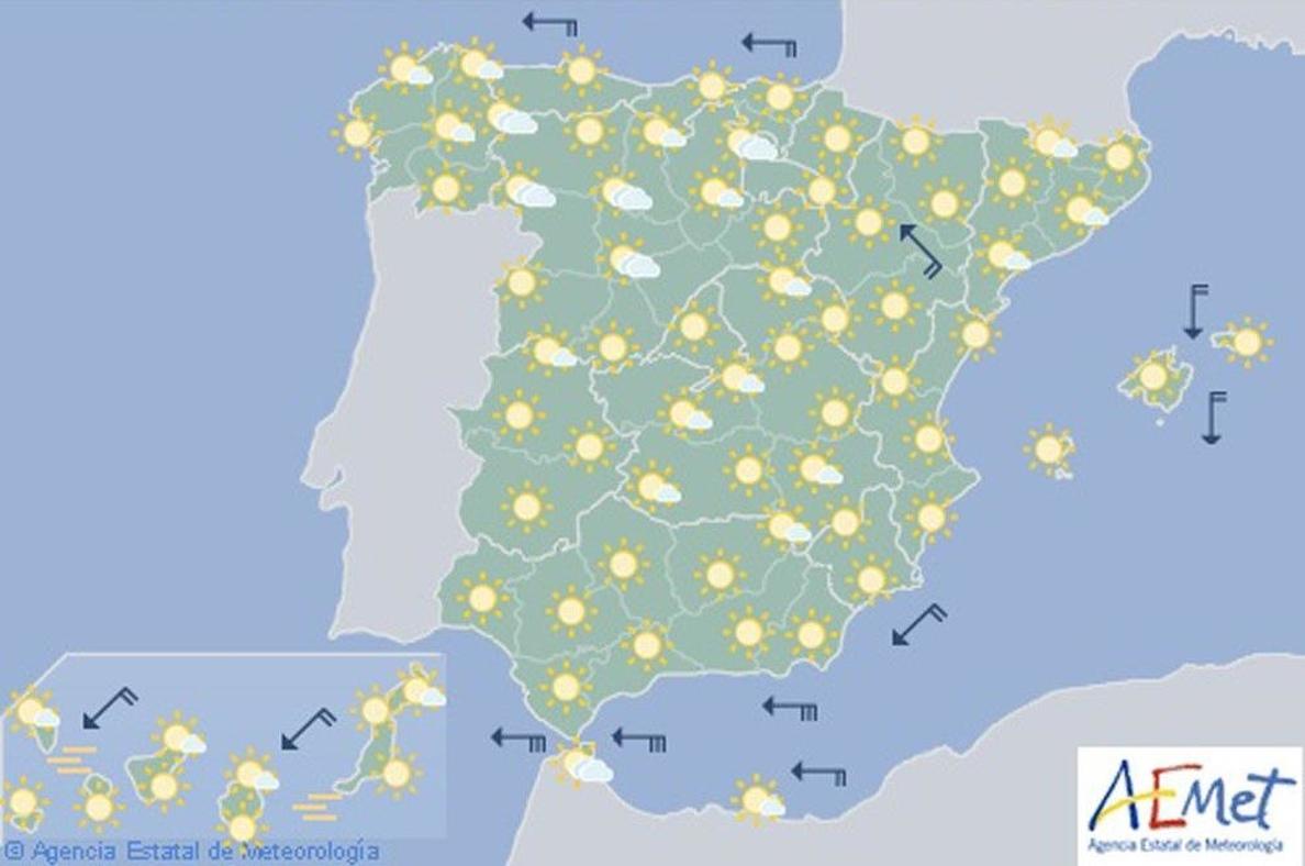 Hoy, temperaturas altas en la vertiente atlántica, alto Ebro y Canarias
