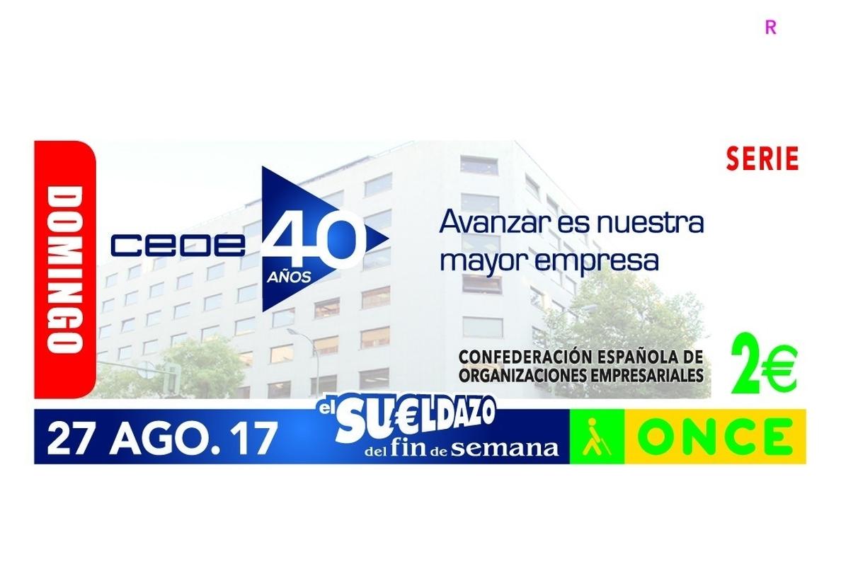La ONCE dedicará el cupón del próximo domingo a la CEOE por su 40 aniversario
