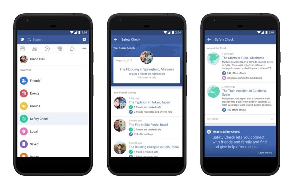 Facebook estrena una pestaña permanente de »Safety Check»