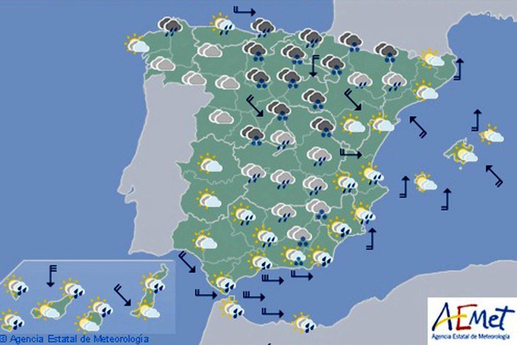 Hoy lluvia fuerte en el litoral cantábrico oriental, catalán y andaluz