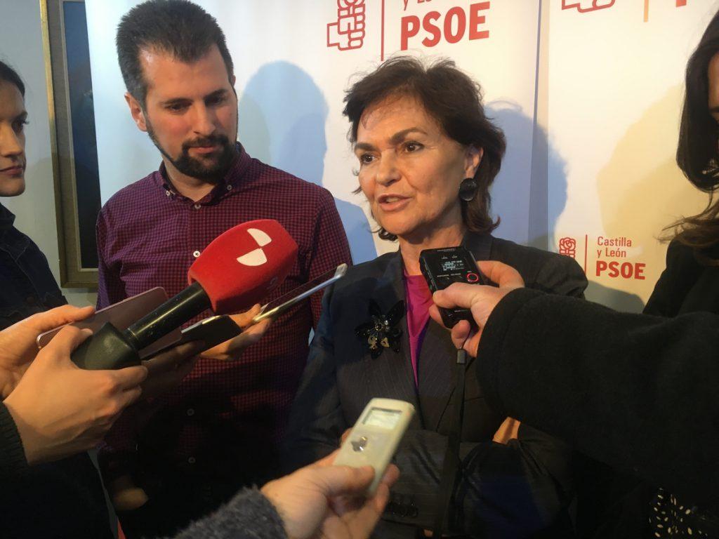 Carmen Calvo (PSOE) aboga por derogar el estatuto de los trabajadores para garantizar el sistema de pensiones