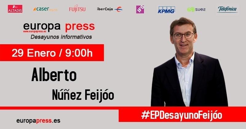 Alberto Núñez Feijóo participa este lunes en los Desayunos Informativos de Europa Press