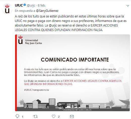 La Universidad Rey Juan Carlos avisa uno por uno a alumnos que denunciaron pagos en negro