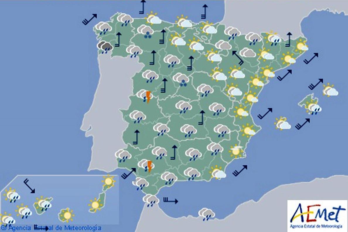 Hoy, lluvias en norte y temperaturas en ascenso en noreste y Baleares