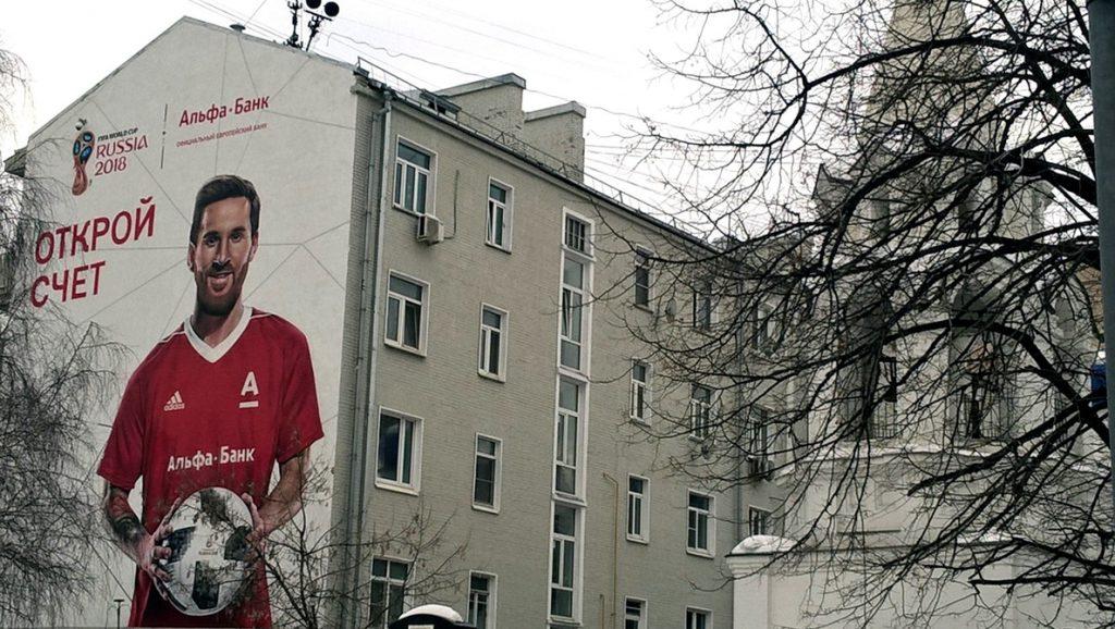 Un gigantesco grafiti de Messi promociona el Mundial en Moscú