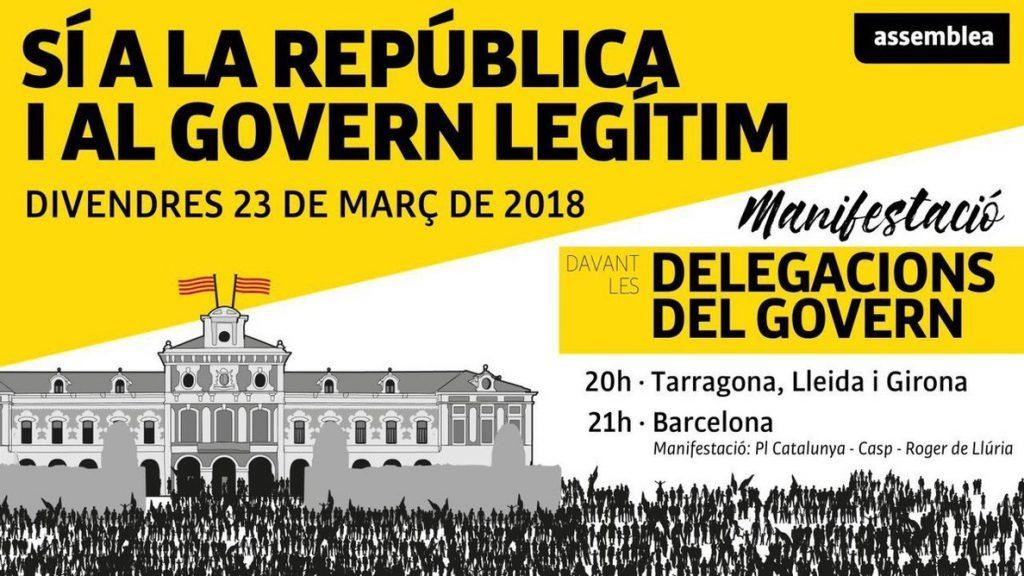 La ANC convoca movilizaciones el viernes ante las delegaciones del Gobierno en Cataluña