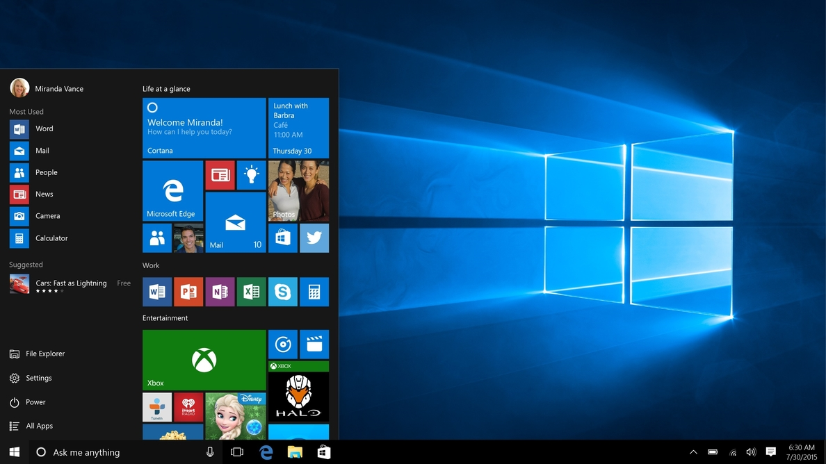 Microsoft distribuye una nueva vista previa de Windows 10 con el rediseño de Windows Defender