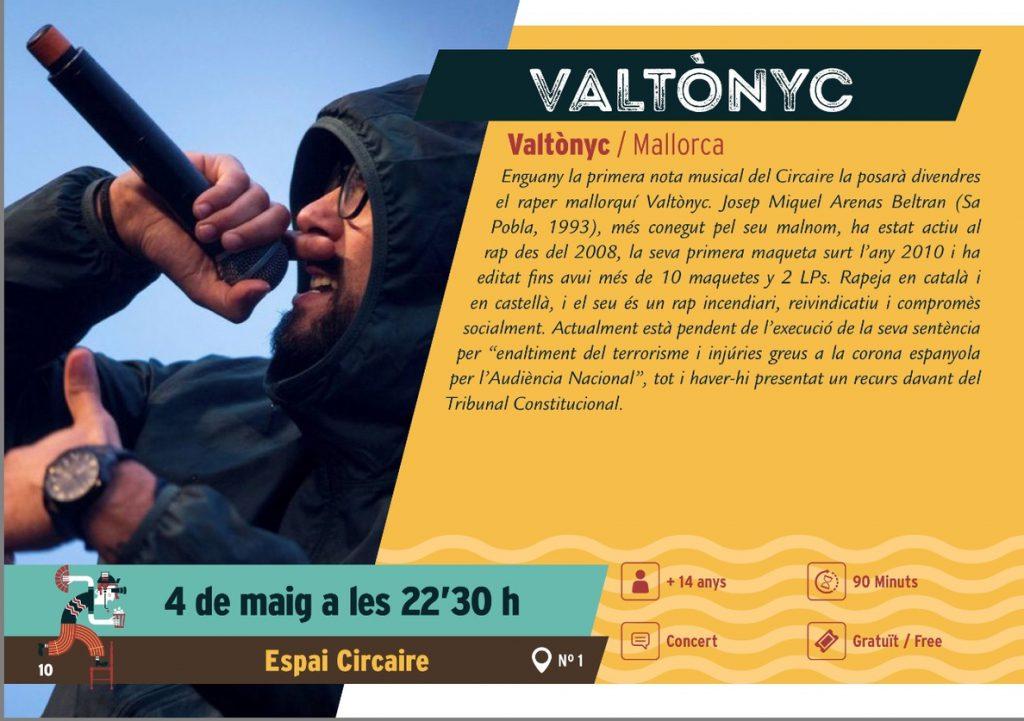 Actúa Baleares critica que el Ayuntamiento de Alcúdia contrate a Valtonyc para un concierto este viernes