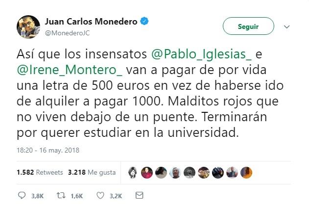Monedero afirma que Iglesias y Montero pagarán «de por vida» una letra mensual de 500 euros por su chalet de 600.000
