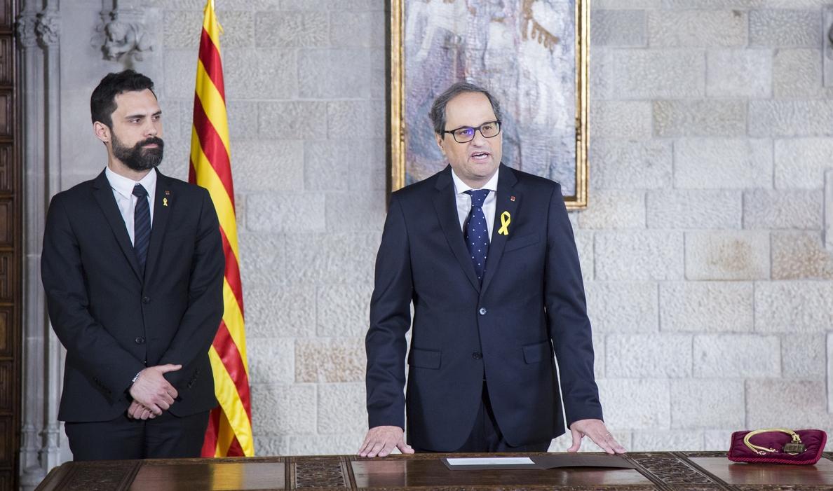 Puigdemont desea «muchos aciertos» a Torra tras la toma de posesión