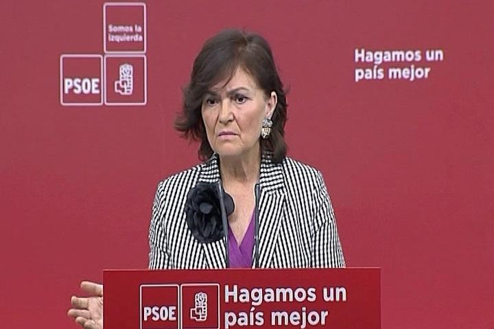 Carmen Calvo (PSOE) asegura que «es difícil que sea viable» el Gobierno de Torra