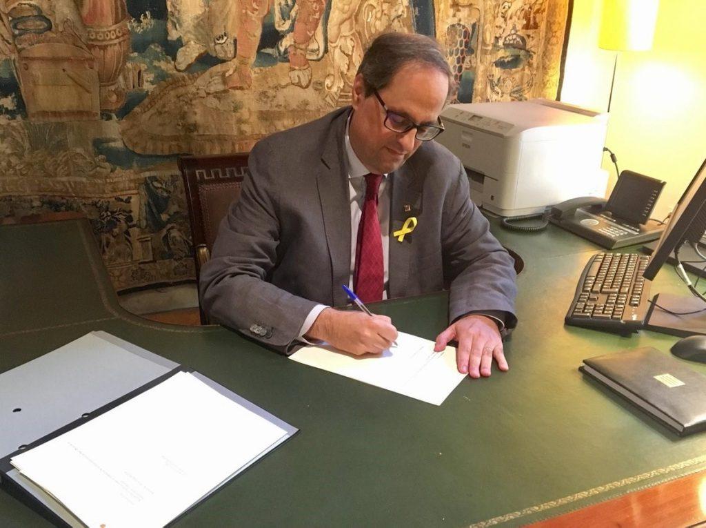 Torra celebra la «restitución» de consellers y está a la espera de la respuesta del Estado