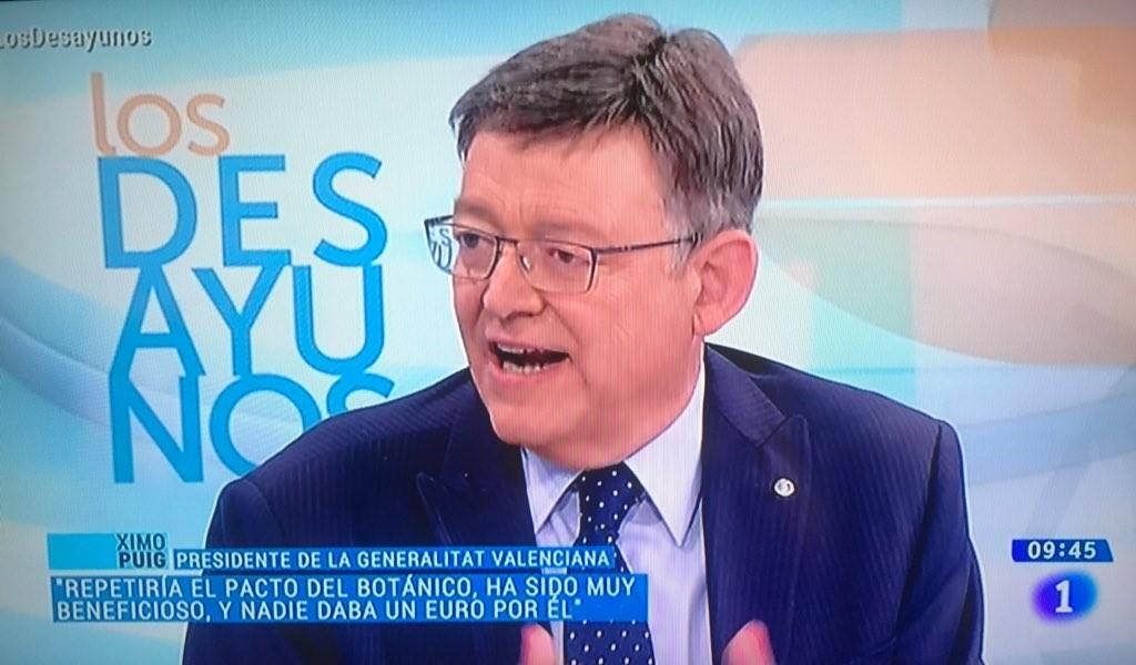 Puig repetiría el Pacto del Botánico porque ha sido «muy positivo» para la Comunitat Valenciana