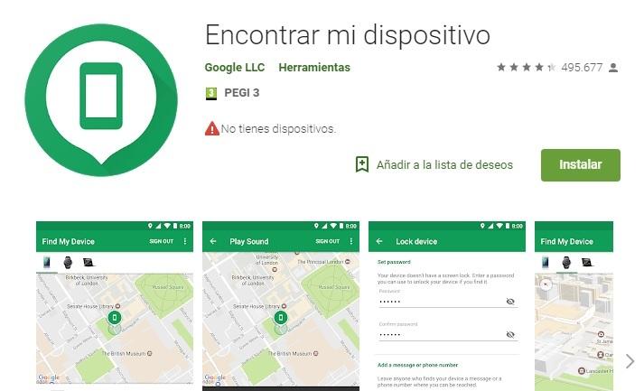 Android permite recuperar el IMEI del teléfono desde su app Encontrar mi dispositivo