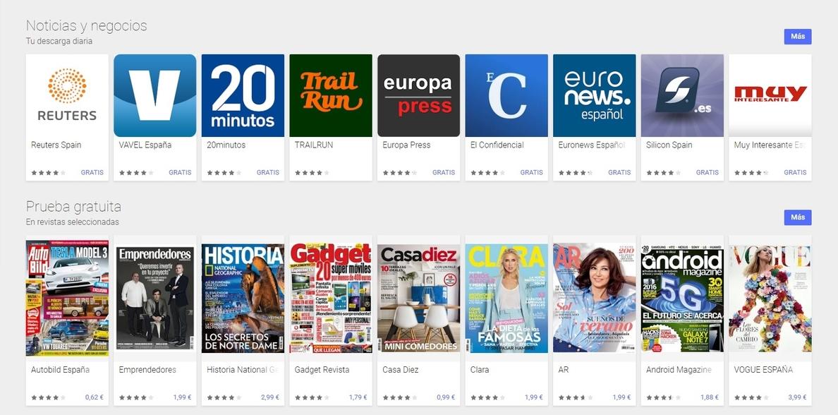 El servicio de revistas Google Play Kiosco desaparece de las tiendas de aplicaciones en España