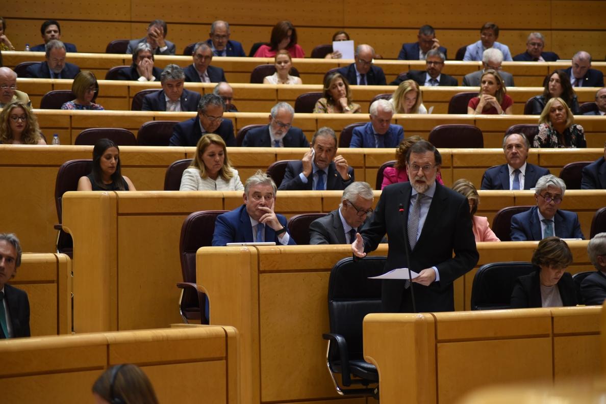 El Senado programa la sesión de control a Rajoy el día 19 de junio a expensas de la moción de censura
