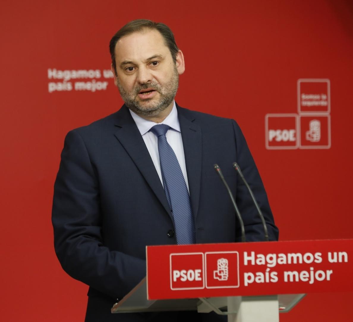 Ábalos será el encargado de presentar ante el Pleno del Congreso la moción de censura de Pedro Sánchez