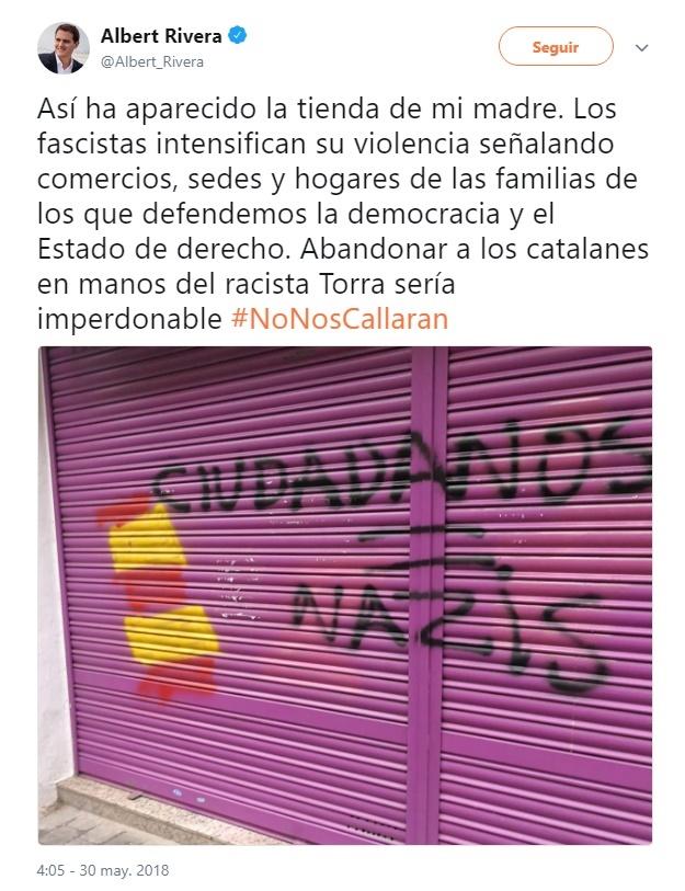 Albert Rivera denuncia en Twitter un ataque a la tienda de su madre, que ha amanecido con pintadas