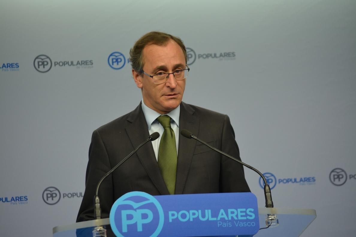 Alonso pide al PNV «moderación» para que «la próxima semana» se pueda «hablar» de cómo ejecutar el PGE en Euskadi