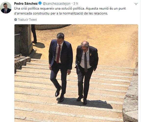 Sánchez escribe un tuit en catalán tras el encuentro con Torra en el que resalta la normalización de las relaciones