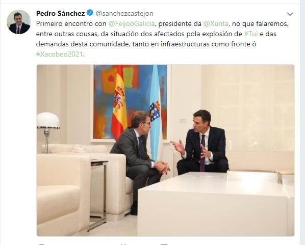 Sánchez publica un mensaje en gallego en Twitter sobre su reunión con Feijóo