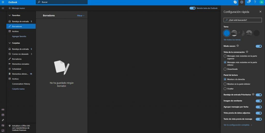 Microsoft lanza globalmente un modo oscuro para Outlook en su versión beta