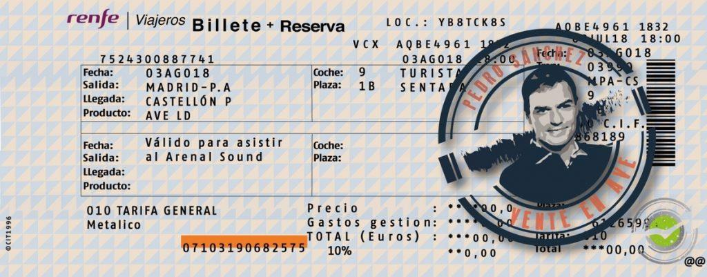 NNGG envía a Sánchez un billete de AVE para que acuda al Arenal Sound en Burriana (Castellón) sin coger el avión privado
