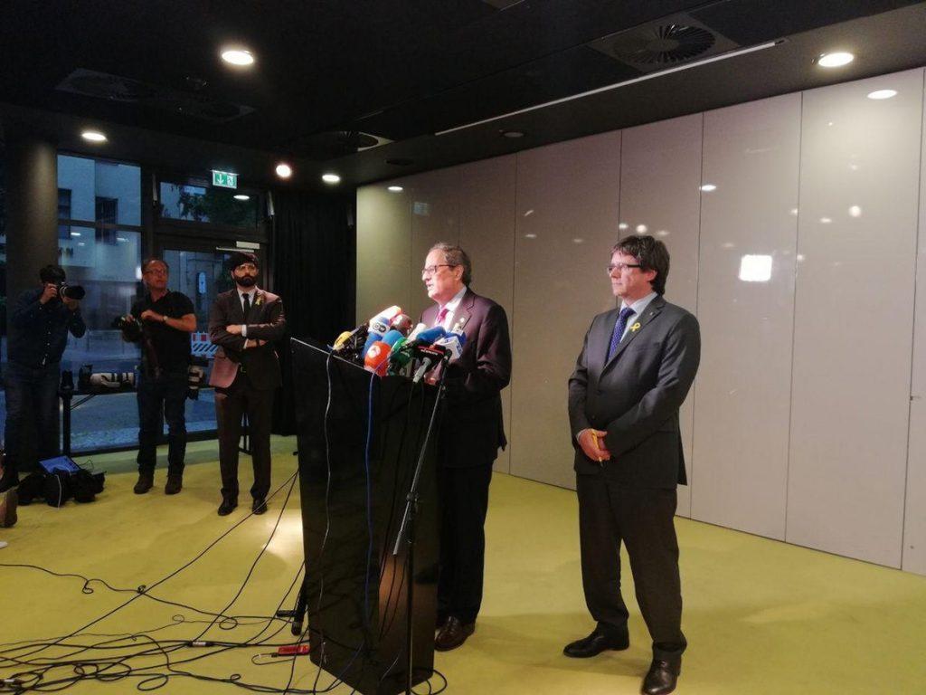 Torra y Puigdemont se reunirán en Bruselas el sábado y comparecerán en rueda de prensa