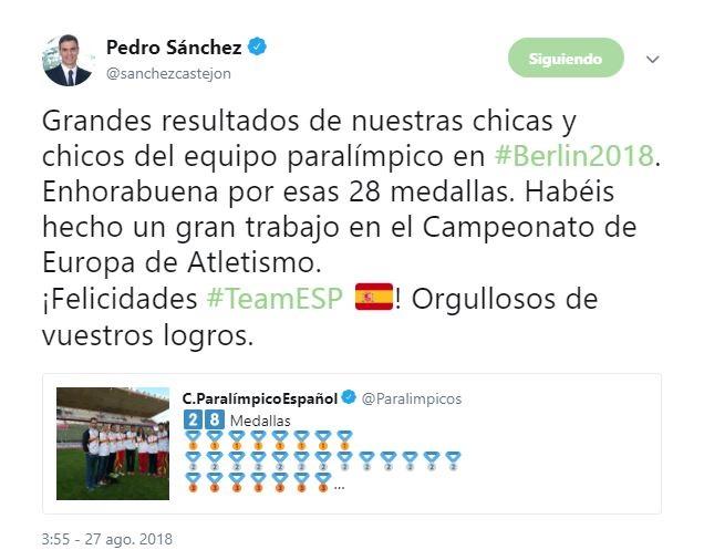 Pedro Sánchez felicita al equipo paralímpico español por sus 28 medallas en el Campeonato de Europa de Atletismo