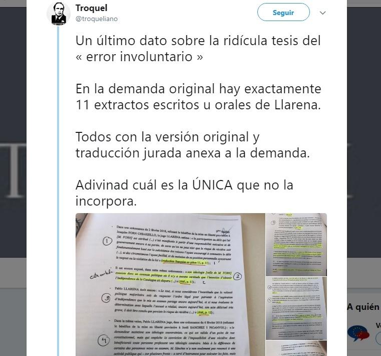 Uno de los tuiteros que reveló el cambio en la demanda de Puigdemont contra Llarena ve «poco probable» un error