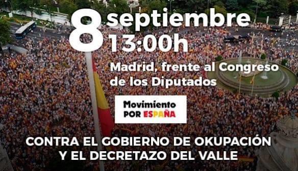 Movimiento por España se manifestará hoy frente al Congreso contra exhumación de Franco y para pedir elecciones