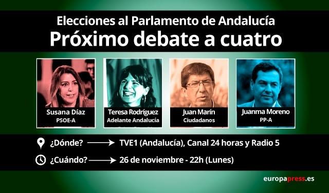 Díaz, Moreno, Rodríguez y Marín protagonizan este lunes en RTVE el segundo y último 'debate a cuatro' de la campaña