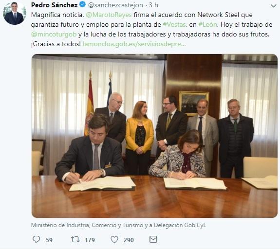 Sánchez señala que la «lucha» de los trabajadores de Vestas ha dado «frutos» con el acuerdo con Network Steel