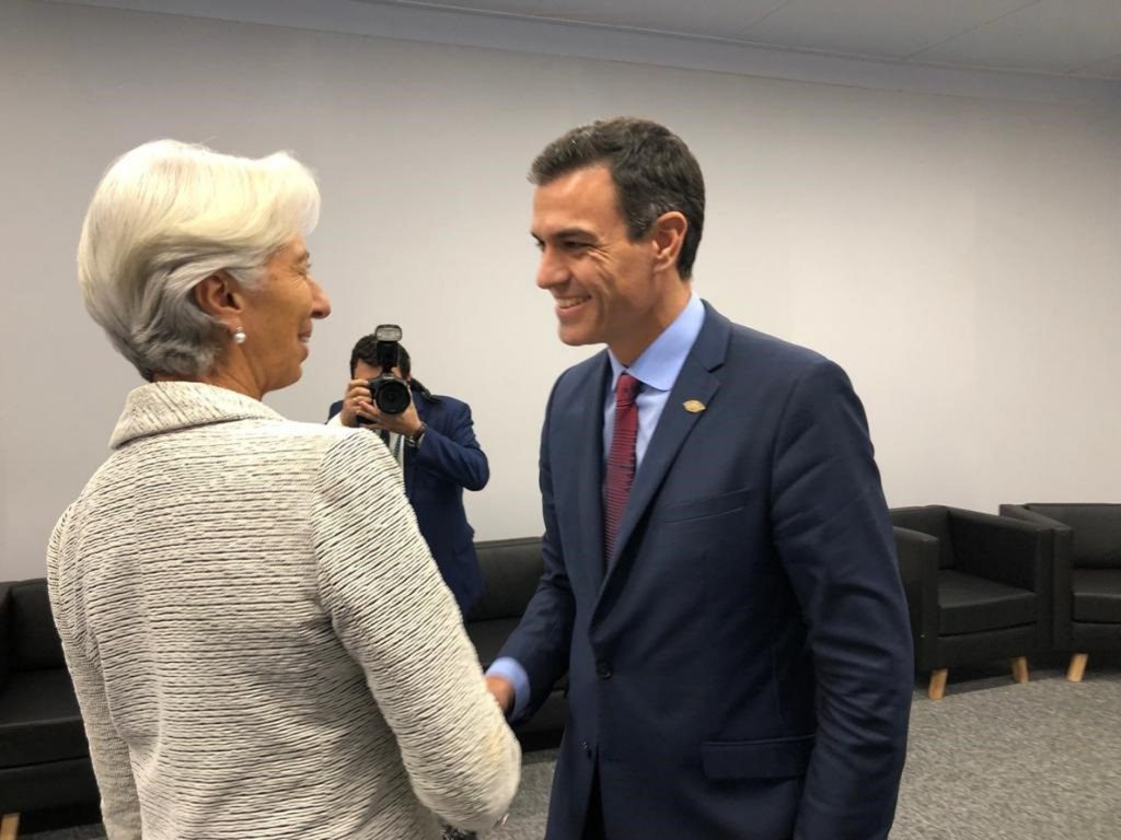 Sánchez mantiene una «muy productiva» reunión con Lagarde y abordan la reducción de los niveles de deuda