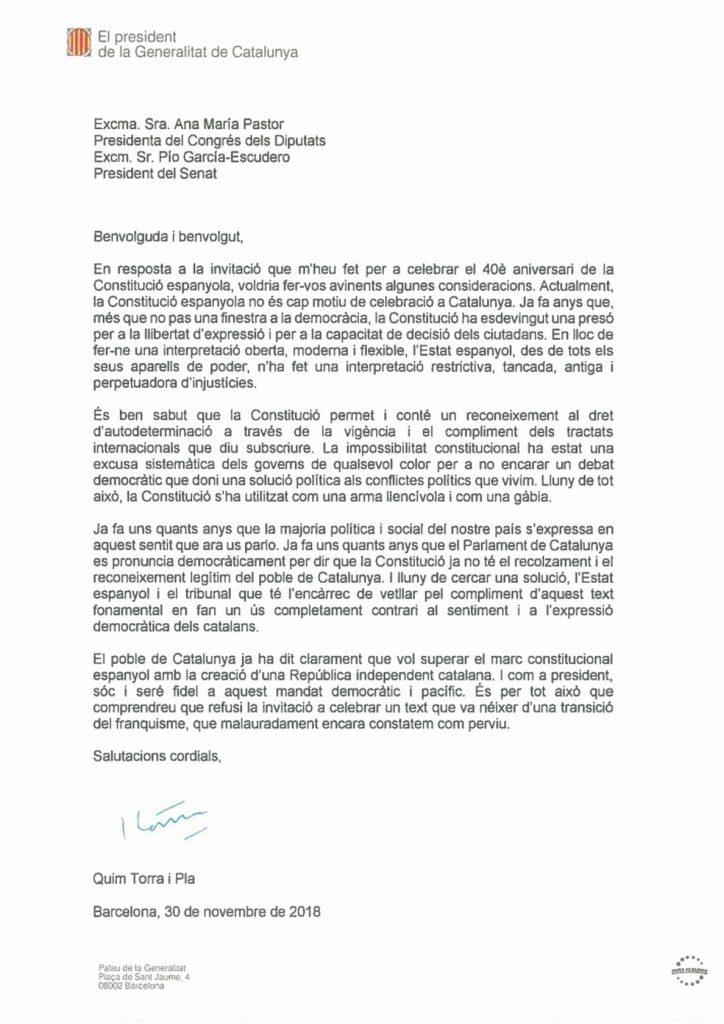 Torra dice que la Constitución es una «cárcel» y no asistirá a los actos por el 40 Aniversario