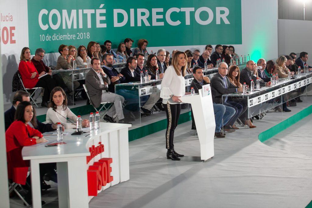 El Comité Director del PSOE-A mandata a Susana Díaz a iniciar contactos para formar un gobierno «estable y coherente»
