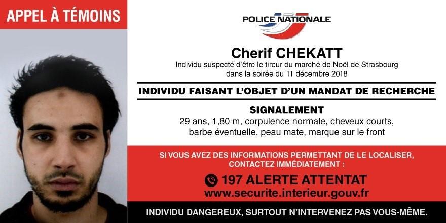 La Policía de Francia publica la fotografía del sospechoso del ataque en Estrasburgo