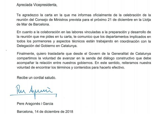 El Govern responde por carta a Calvo que quiere buscar la fórmula de un «diálogo constructivo»