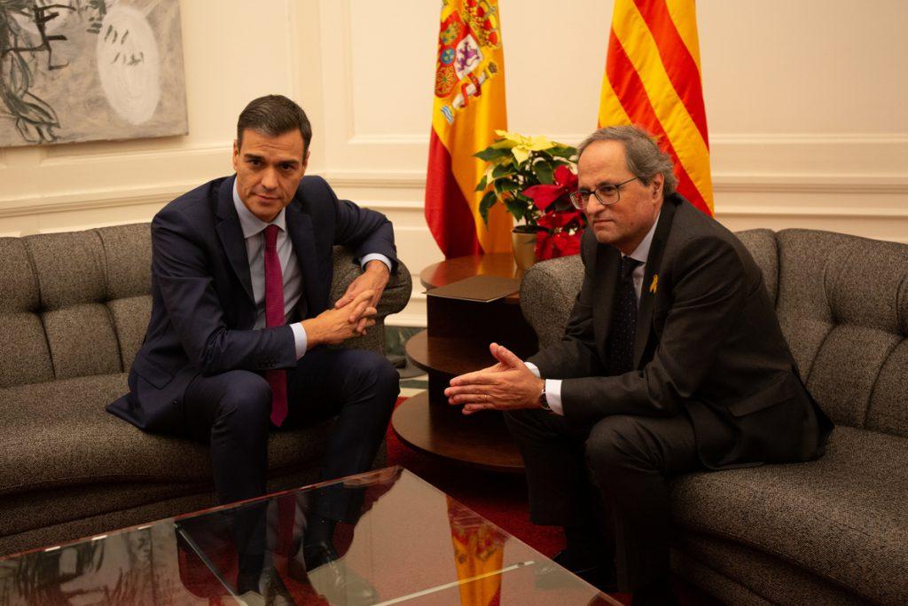 Termina la reunión entre Sánchez y Torra ajustándose al formato previsto por Moncloa