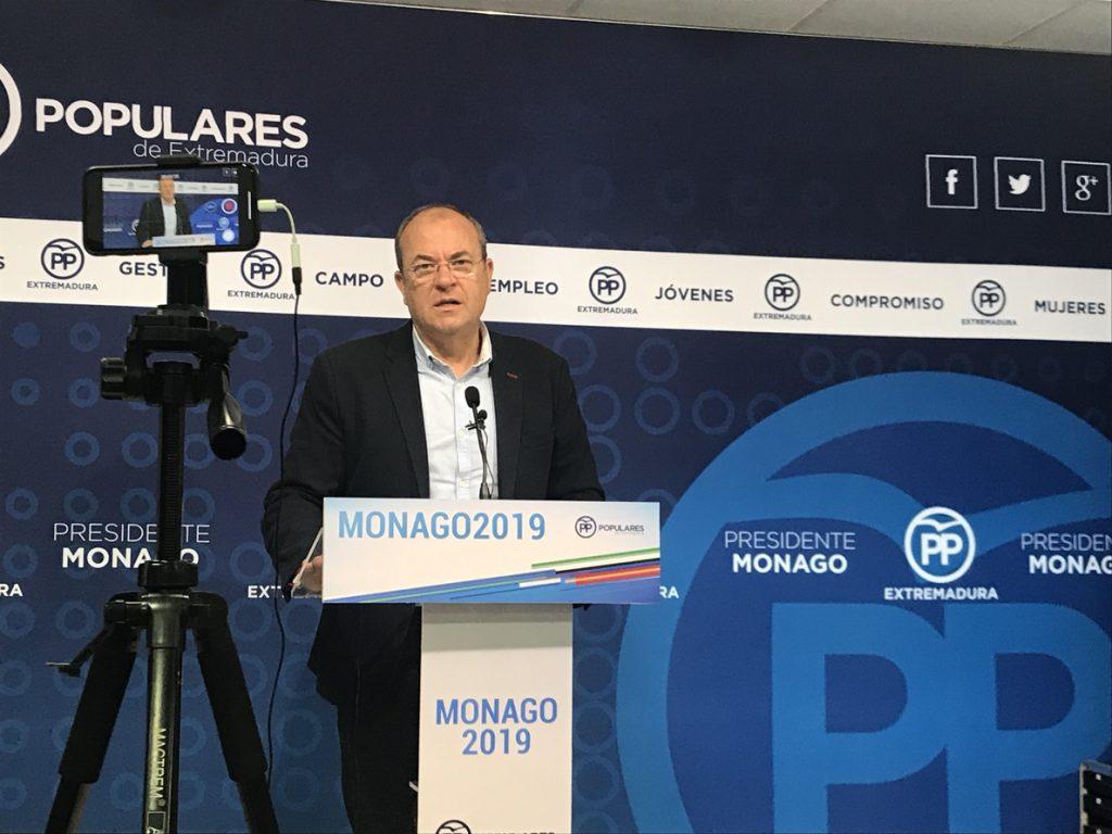 Monago remarca que el PP es el «único contrapeso» al PSOE y pide a 2019 que las elecciones «lleguen cuanto antes»